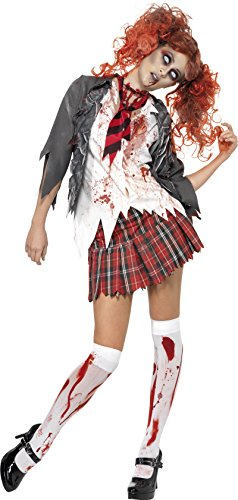 (Smiffy's 32929L High School Horror-Cheerleader-Zombiekostüm, L, grau)