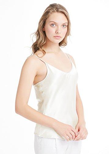 LilySilk Canottiera in Seta con Collo A V 19MM Bianco
