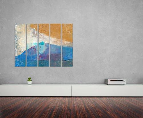 Abstrakte Bildnisse 5x30x120cm XXL extra großes 5-teiliges Wandbild auf Leinwand und Keilrahmen fertig zum aufhängen – Unsere Bilder auf Leinwand bestechen durch ihre ungewöhnlichen Formate und den extrem detaillierten Druck aus bis zu 100 Megapixel hoch aufgelösten Fotos.