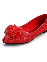 ZQ hug Zapatos de mujer - Tacón Plano - Puntiagudos - Oxfords - Casual - Semicuero - Negro / Rojo / Blanco , red-us8 / eu39 / uk6 / cn39 , red-us8 / eu39 / uk6 / cn39