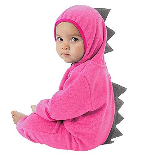 MRULIC Neugeborenes Baby Jumpsuit Outfit Dinosaurier Reißverschluss mit Kapuze Spielanzug Overall Outfit Kleidung Niedlicher Babyschlafsack Onesies Herbst und Wintermodelle(A-Rosa,55-60CM)