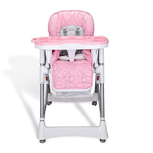Hengda Trona para bebes con Cinturón de seguridad de 5 puntos Silla alta de bebé con bandeja extraíble