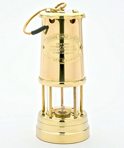Grubenlampe Messing poliert mit 6 mm Runddocht, Höhe 220 mm, made by JD Burford, Wales -