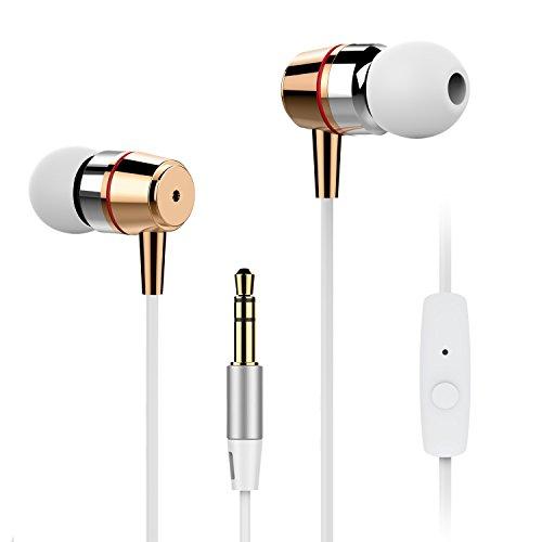 Gvoo Écouteurs, Écouteurs Filaire Isolant du Bruit Écouteurs Intra-Auriculaires Basse Stéréo Casque Headphone Microphone Intégré et Télécommande pour iPhone,iPod,iPad,MP3 LG,Samsung,Sony,etc-Blanc