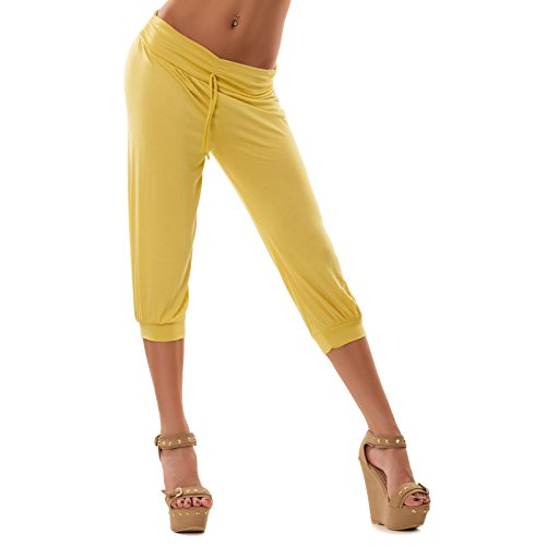 Toocool - Leggings pantaloni capri pinocchietti fitness sport donna tuta palestra 3068 Giallo