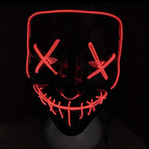 QWEASZER Leuchtende Maske Grimasse Erwachsener Fluoreszenz Tanzmaske Bar Devil Horror Kopfbedeckung Spukhaus Schädel Maske Halloween Kostümpartys Maskeraden Terror Thema Party,C-22X17CM