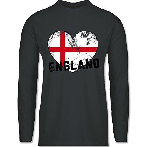 EM 2016 - Frankreich - England Herz Vintage - Longsleeve / langärmeliges T-Shirt für Herren Anthrazit
