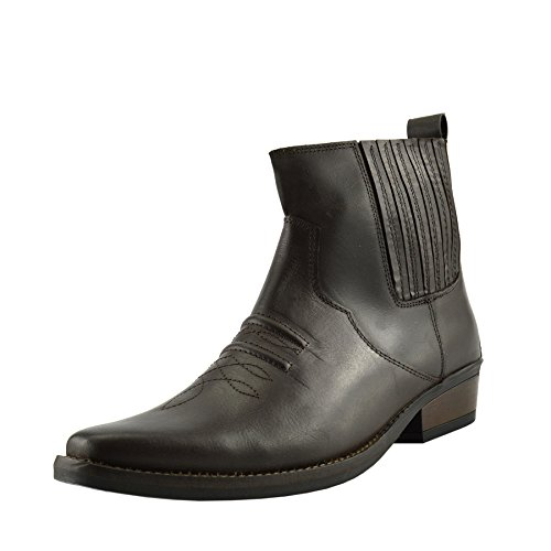 Kick Footwear - Herren Cowboy Ankle Boots Aus Leder Biker-Boots Aus Leder Toe - UK 10 / EU 44, Braun