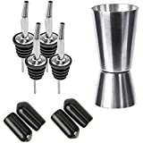 Bombay Steel Works Liquor Wine Oil Pourer | Pack of 4 (with Caps) + 1 PC Peg Measure | for Bar, Restaurants, Kitchen | Stainless Steel Free Flow Bottle Pour Spout (with Peg Measure)