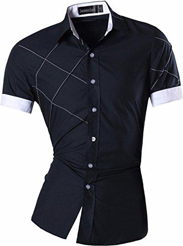 jeansian-homme-chemises-casual-manche-courte-shirt-tops-mode-men-slim-fit-8360-us-xl-z003-navy