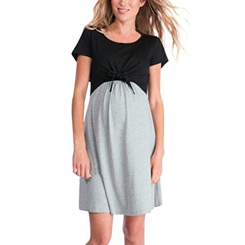 Keepwin Ropa Embarazadas Vestido Premama Lactancia Vestido De Lactancia Femenino (M, Gris)