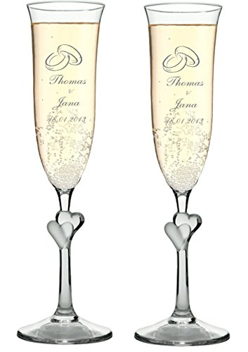 Zwei Sektgläser Herz L'AMOUR mit Wunschgravur, Wunschtext. Die Geschenkidee!Hochzeit
