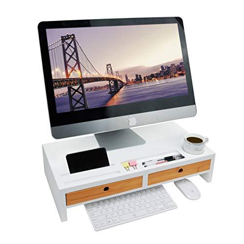 ZRI Bamboo Bildschirmerhöhung Monitorständer Holz Monitor Erhöhung Bildschirmerhöher mit 2 Schubladen Bambus HBT 56x27x12cm, Weiß