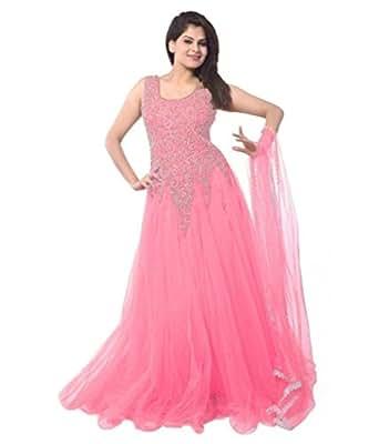 Janasya Women's Pink Net Semi Stitched Dress (JNE-DR-0900-PINK)