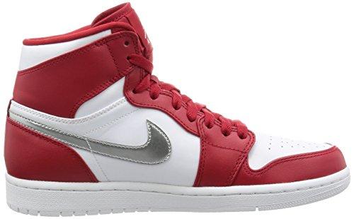 Nike Air Jordan 1 Retro High, espadrilles de basket-ball homme Rouge (rouge gymnase / argenté métallique - blanc)