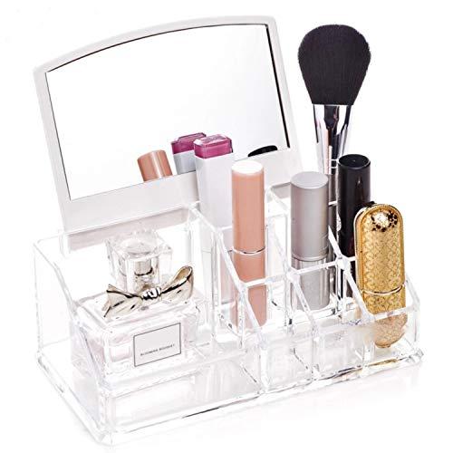 SuperMega® 1032M Make-up-Organizer mit Spiegel, Acryl, transparent, Kosmetik, Schmuck, 16 Fächer