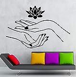 Apliques Casa de moda Loto Pegatinas de pared Manos Spa Relajación Yoga Vinilo Zen XCM