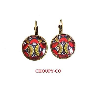 Boucles d'oreilles, cabochon * WAX * motif Africain, boubou, rouge, jaune et bleu, bronze, dormeuses, boucles ethnique.