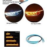 PRIKNIK Car Led Strip for Headlight White Daytime Running Light, Turn Signal Yellow/Amber Indicator Light Lamp DRL 12v (Left&
