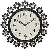 CHRONIKLE Awesome Metal, Diamond Wall Clock (37*37*5 cm, Black Silver)