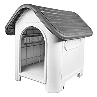 RayGar Plastic Dog Cat Kennel House Weatherproof For Indoor And Outdoor Pet Shelter, Grey RayGar Plastic Dog Cat Kennel House Weatherproof For Indoor And Outdoor Pet Shelter, Grey 41oG0fmVdzL