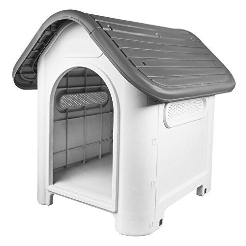 RayGar® Caseta de plástico para perro o gato, resistente a la intemperie, para interior y exterior, refugio para mascotas, color gris