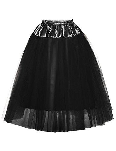 DYSS Donna 1950 Sottotetto in tulle Layered Sottovesti scivola Crinolina Vestito lungo Nero