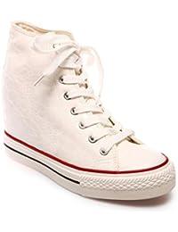 La Modeuse-Basket mejorada con cordones de piel sintética con tapa, Blanco (blanco), 34