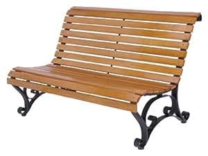 Amazon.de: Gartenbank Holz/Metall X250 vorne abgerundet