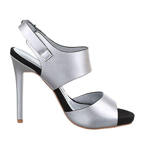 Damen Schuhe, F60, SANDALETTEN HIGH HEELS PUMPS Silber