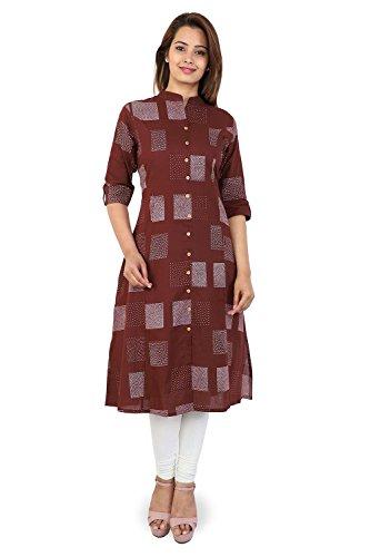 Bright Cotton Kurti for Women Long Maroon Colour Printed Dot BCCWN-007M-42