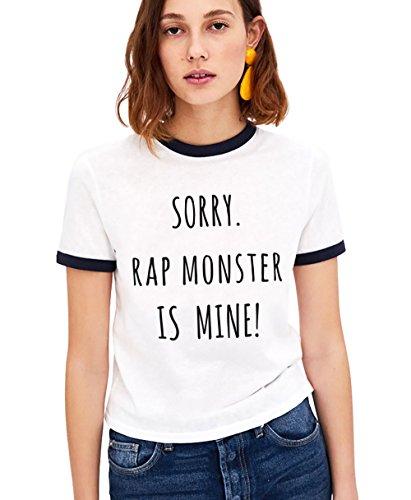 KPOP BTS T-Shirt Bangtan Boys Ringer Shirt Buchstabe Gedruckte Tshirt V Jung Kook Jimin Jin Suga J-Hope Rap-Monster Army Kurzarm(schwarz-RM-L) -