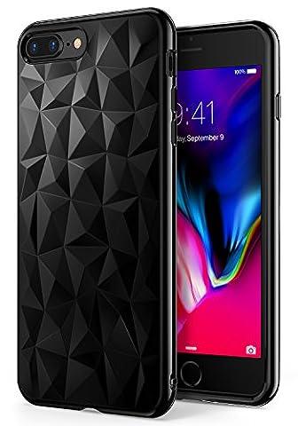 Coque iPhone 7 Plus / iPhone 8 Plus, Ringke [AIR PRISM] 3D Design Contemporain Mince Géométrique Élégant Motif Flexible Plein-Corps TPU Résistant à la Goutte Housse pour iPhone8 Plus - Encre Noire