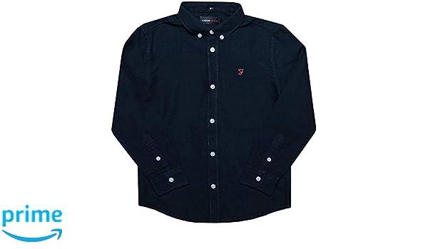 Long Sleeve Button Fastening Farah Junior Boys Brewer Ls Oxford Shirt in Navy