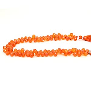 "120cts Orange Karneol 5x9mm Größe facettiert teardrop Briolette Beads 9 ""strand"