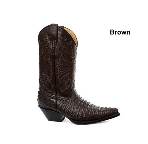 Bottes homme Western Cowboy cuir véritable bouts pointus noir marron style crocodile
