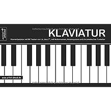 Klaviatur: Ausklappbare Klaviertastatur mit 88 Tasten von A'' bis c''''', mit Notennamen, Notensystem und chromatischer Tonleiter (360 g-Kartonpapier).