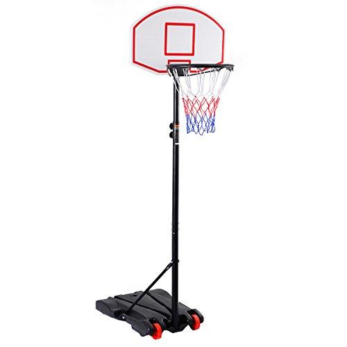 COSTWAY Basketballständer Basketballkorb mit Ständer Basketballanlage Korbanlage höhenverstellbar von 165 bis 215cm transportabel
