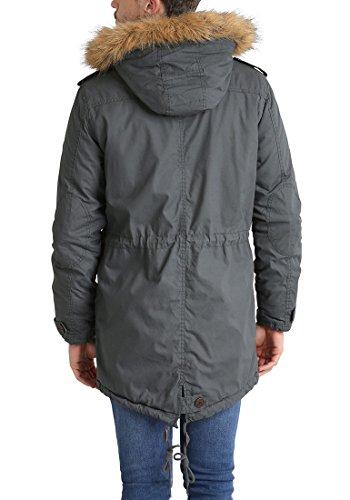 SOLID Clark Teddy Herren Parka lange Winterjacke aus 100% Baumwolle mit Kapuze und Kunstfellkragen, Größe:M, Farbe:Dark Grey (2890) - 5