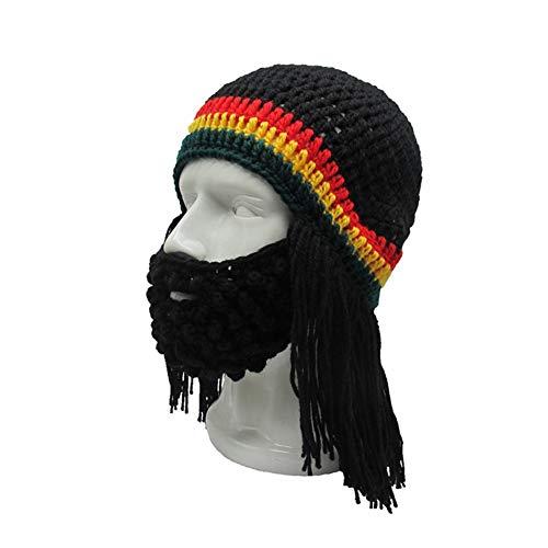Jaszhao parrucca a maglia lunga barba vichingo cappello unisex inverno caldo creativo cosplay barbaro beanie divertente pazzo sci maschera tappi regalo di halloween