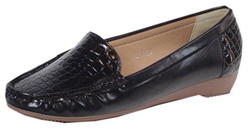 Ocala-vernis balerinas mocassins pour femme avec croco gravé chaussures, mocassins bureau business cocktail unie 36, 37, 38, 39, 40, 41 Noir - Noir