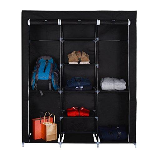 Mari Home - Ashby Negro Marco de Metal Armario de Tela para Closet Textil Plegable Organizador 175 x 150 x 45 cm