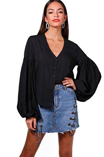Schwarz Damen Amy Balloon Sleeve Woven Shirt - 16 (Sleeve Woven Shirt)