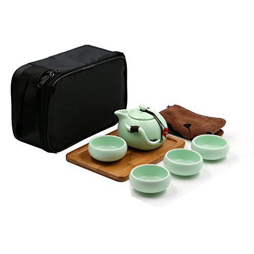 Portable Théière à Infusion en Porcelaine avec 4 tasse de thé +Plateau de thé en bamboue + Noir sac de rangment pour Kungfu thé/thé chinois etc.(Vert clair)
