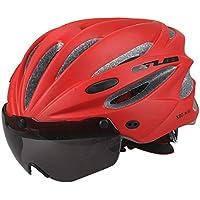 ZREAL Bicicleta Casco de Ciclismo Road Mountain Bike integralmente Moldeada con Casco Ultralight Goggles, Rojo