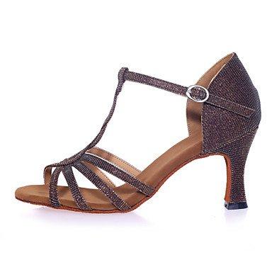 XIAMUO Nicht anpassbar - Die Frauen tanzen Schuhe funkelnden Glitter funkelnden Glitter Latein Sandalen abgefackelt HeelPractice/Professional/Innen-/ Silber