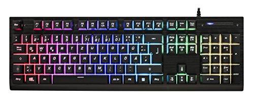 Kunmuzi Gaming Tastatur Gefühl Chroma RGB Beleuchtung und Vollhohen Tastenkappen Ergonomischen Design Business&Gaming-Tastatur, QWERTZ, Deutsche Layout (DE)