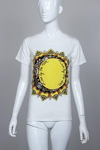 Moollyfox Femmes Sun Imprimer Manches Courtes T-shirt Casual Été Blouse Tops Blanc