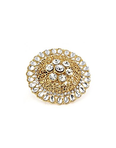 Bindhani Traditional & Ethnic Gold Plated Kundan Finger Ring For Women (Adjustable, White)  available at amazon for Rs.198
