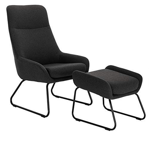 WOLTU® Relaxsessel SKS17dgr Relaxstuhl Sessel Fernsehsessel TV Sessel Relaxliegen mit Hocker Stoff Stahl Dunkelgrau -